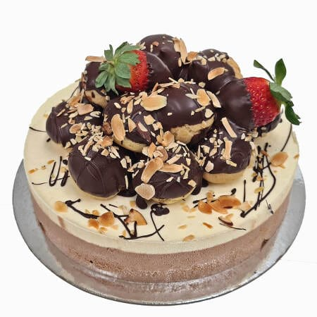 Profiteroles on Continental style cake